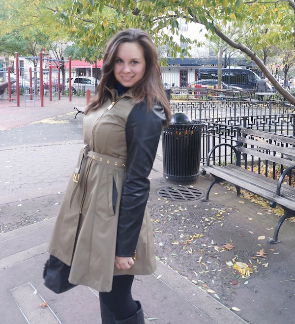 NYC in fall trench coat