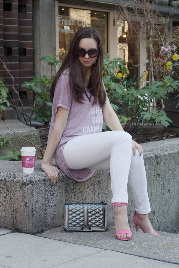 Aspiring Socialite Fashion Blogger White Jeans Ami Club Wear Shoes Pink Heels Staycation