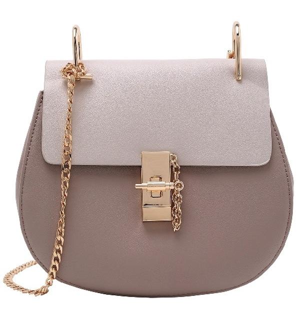 Faux Leather Chain Saddle Bag