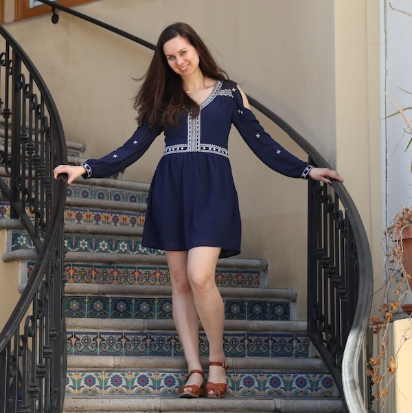Aqua Cold Shoulder Dress