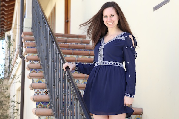 Aqua Embroidered Cold-Shoulder Dress Bloomingdales